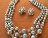 Vintage 60s - Blue and and white iridescent beads 3 strands necklace and clip earrings