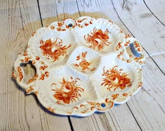 Vintage Snack Plate - Divided Plate - 5 Section Dish - Red Floral Platter - Ceramic Tray with Handles - Hand Painted Plate