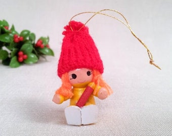 Vintage Christmas Ornament, Little Girl with Knitted Hat, Painted Wood Miniature Doll Figurine Ornament, Vintage Christmas Holiday Ornament