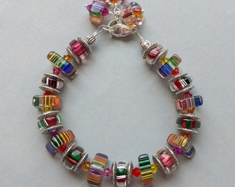 Multicolor Slice Rainbow and Metal Spacer  Glass Beaded Bracelet with Swarovski Austrian Crysal Accents No.2