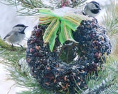 Big Bird Seed Feeder Wreath - Organic - Built in hanger