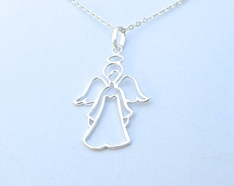 Angel Necklace, Silver Necklace, Designer Necklace, Womens Necklace, Romantic Gifts, Handmade Necklace, Beautiful Jewelry, Jewelry Gift