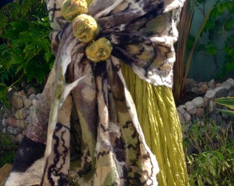 Green beige black cream gold nuno Felted wool silk scarf shawl wrap- lagenlook fibre art to wear
