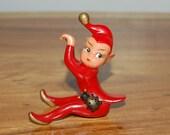 "Vintage large 3"" Christmas Red Rubber Hong Kong Pixie / Elf Hanger, Climber, Hugger with Ladybug ~ VHTF"