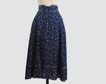 Vintage 70s GUNNE SAX SKIRT / Corset Lace-Up Navy Floral Midi xs s