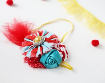 Under the Big Top -  bright and funky circus inspired headband ruffle rosette headband bow with feathers