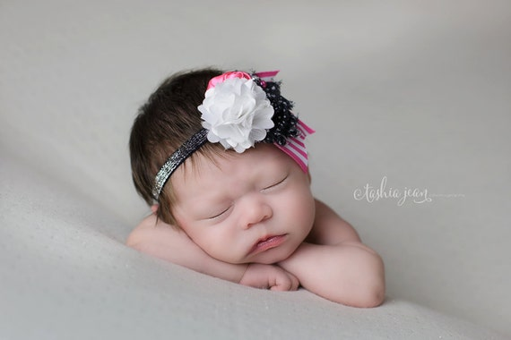 Sweet For Sophie headband - hot pink white and black rosette ribbon and chiffon bow