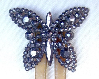 Antique hair comb Victorian cut steel butterfly hair accessory hair jewelry decorative comb hair pin hair pick