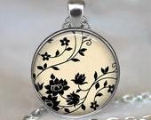 Swirling Black Flowers art pendant charm, flower pendant, flower necklace resin pendant, black and white pendant, keychain key chain
