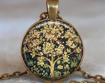 William Morris Tree of Life necklace, Tree of Life pendant William Morris art jewelry symbolic jewelry tree necklace tree key chain
