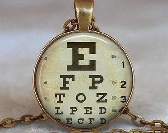 Eye Chart necklace, optometrist necklace ophthalmologist gift, optician optometrist pendant graduation gift key chain