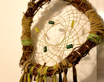 Green and Brown Handmade Native American Dream Catcher with Brown Feathers