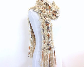 Hand knit Scarf Cream Knit Scarf Chunky Knit Scarf Knit womens scarf Long scarf with fringe