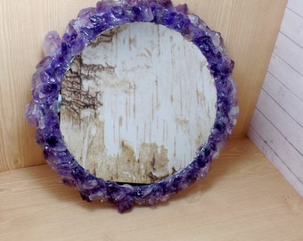 Amethyst Gemstone Mirror, Crown Chakra Mirror