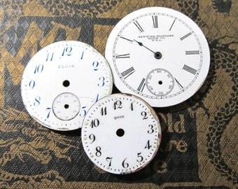 Porcelain Pocket Watch Faces VINTAGE Watch Plates Three (3) Porcelain Watch Faces STEAMPUNK Watch Jewelry Mosaic Assemblage Supplies (Y201)