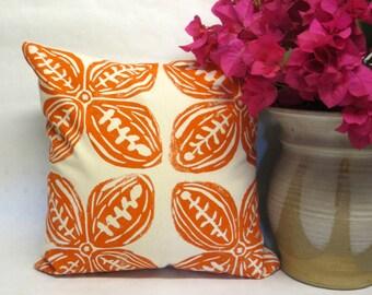 Orange Tribal Print Pillow - Decorative Orange Tribal Print Polynesian Pillow