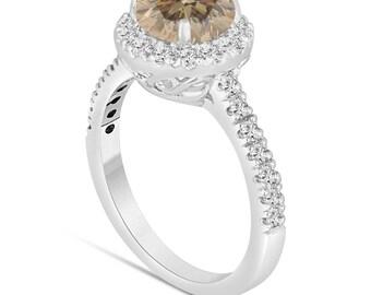 Platinum Fancy Brown Champagne Diamond Engagement Ring 1.58 Carat Halo Certified Handmade