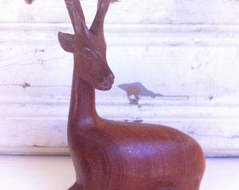 Vintage Seated Gazelle Figurine, Wood Sculpture,  Mid Century Decor