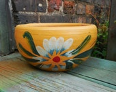 Vintage Flower Pot Terracotta planter Hand painted Mexico pottery YELLOW white flower rustic spanish garden home