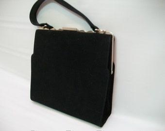 Vintage Fiesta Purse, Black Suede Pocketbook, Mad Men Style handbag, Silver Metal Frame Handbag Snap Clasp, Hand Held Strap,