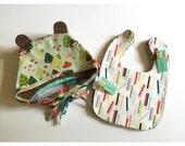 Owlette Bonnet and Bib Set Pick Any Two Gift Set Nickel Free Snap Closure Drool Bib Teething Bib 3 months plus