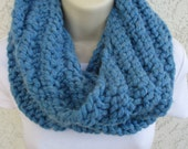 Chunky Spiral Rib Cowl in Sky Blue, Denim Blue, Cobalt Blue, or Navy Blue
