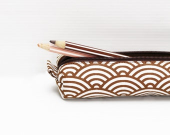 Decorative Mahogany Brown Pencil Case, Cotton Zipper Pouch, Small Cosmetic Case