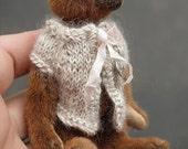 "Pippi, Miniature Caramel Brown 4"" Artist Teddy Bear by Aerlinn Bears"