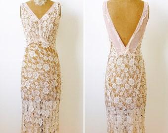 Vintage 1930s lace dress/Blush pink/Vintage bridal/Vintage wedding dress/low back