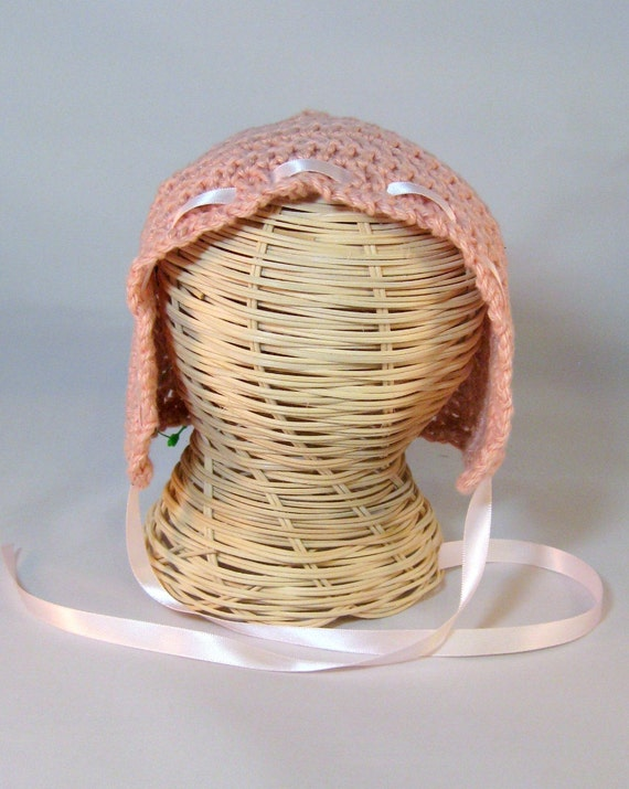 READY TO SHIP Crochet Baby Bonnet satin ribbon trim classic baby hat soft cotton baby Christening cap Medium Pink 3-6 mo