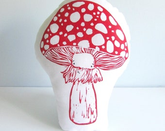 Plush Toadstool Mushroom Pillow. Hand Woodblock Printed. Choose ANY colors. Made to order- takes 1-2 weeks.