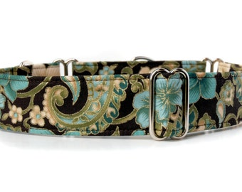 Victorian Teal,, Brown and Teal Martingale Dog Collar in 1.5 inch or 2 inch width