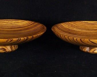 Zebrawood bowls: matched pair, midcentury modern art deco