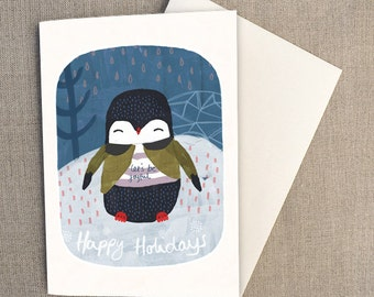 C6 Greeting Card - Happy Holidays, Christmas Card, Penguin