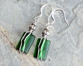 Green Wire Wrapped Sea Glass Earrings, Green Earrings, Handmade Earrings, Dangly Earrings, Ocean Earrings, Summer Earrings, March Earrings