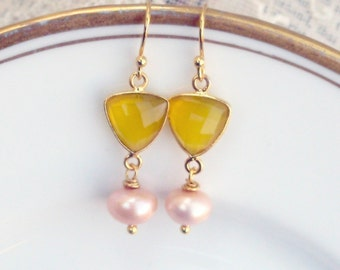 Pink Grapefruit,Natural Yellow Chalcedony Gemstone Soft Pink Freshwater Pearl , Trillion Shaped Gold Plated Lux Assemblage Earrings