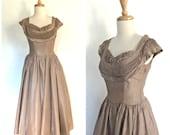 1950s Taffeta Party Dress - swing dress - holiday dress - wedding - bridesmaid - XS Small
