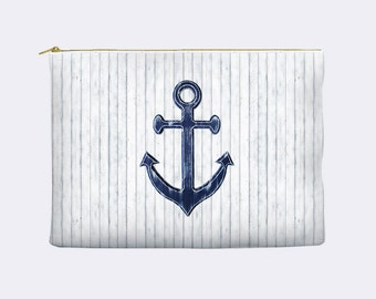 Nautical Cosmetic Bag, anchor cosmetic bag, toiletry bag, stocking stuffer, makeup bag, large cosmetic bag, zippered pouch, man bag
