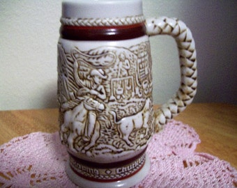 Vintage 1983 Cowboy Roping Cattle Drive Stagecoarch Western Avon Collectible 5 inch stein #082372 Great for Western Decor or Cowboy