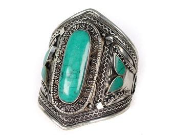Vintage Tribal Kuchi Turquoise Cuff Bracelet
