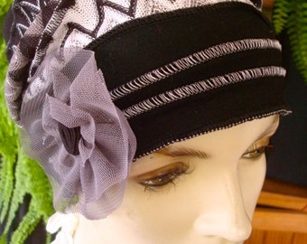 Womens Chemo hat grey black and White chevron beanie  Soft Chemo headwear Cloche Flapper hat Bohemian  hat with grey  flower