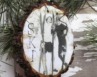 My BFF at the Ski Slopes - Vintage Ski Teens - Ski Ornament - Gift Tag - Wood Slice Ornament - Ephemera - Ski Memorabilia - Handcrafted