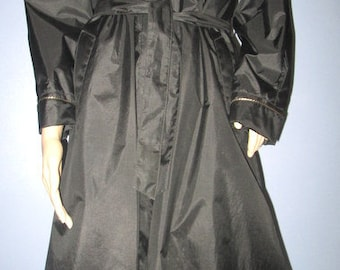 1980s Black and Gold Bling All Weather RainCoat,  80s Rain Coat.  1980s All Weather Coat. Glam Coat.
