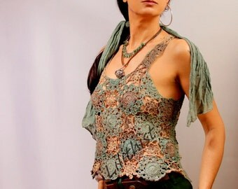 Crochet Top, Boho Chic Lace Top, Sleeveless Lace Blouse,Green Brown  Lace Shirt, Beachwear, Women Fashion, Beach Cover Up, Gypsy Clothing