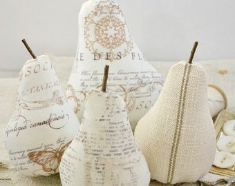 Fabric Pears-Vintage Inspired-French Script-Set of 4