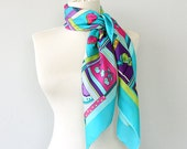 Silk scarf fruit printed Tropical scarf Turquoise teal Neck scarf Head wrap Modern design Summer accessories Bright colorful silk shawl