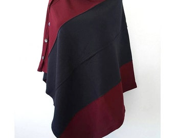 Convertible poncho Burgundy and navy shrug Knit women poncho with buttons Multipurpose shawl Boho bolero cape scarf Winter wrap Gift for her