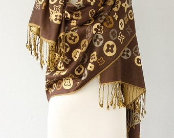 Pashmina wrap Brown shawl Thick Pashmina scarf Fringe shawl Boho chic yellow neck warmer Winter accessories Christmas gift idea for her