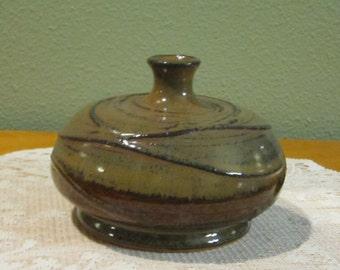 Weed Vase/Twig Jar Eames Era Pottery Raised Glaze Studio Made and Artist Signed Vintage Mid Century