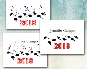 Graduation Thank You Note Cards, Customized with Your Name and School Color/2017 Thank You, Toss Your Hat, Confetti, Matching DIY Invitation